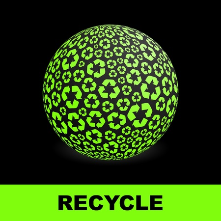 arow: Globe with recycle symbols.   Illustration