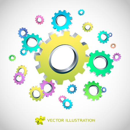 space industry: Vector gear background. Abstract illustration.
