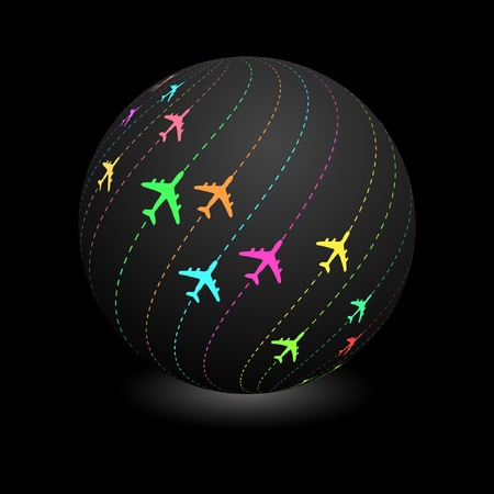 Globe with plane signs. Vector illustration.   Vector