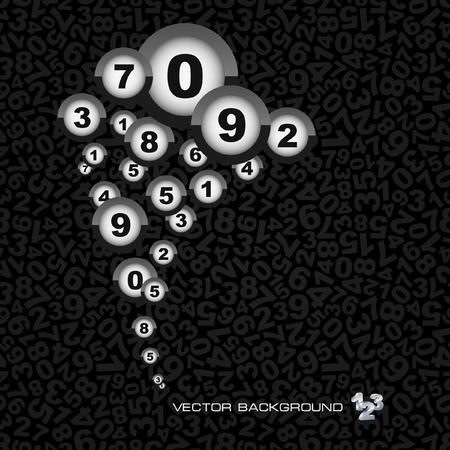 six objects: Abstract background with numbers.   Illustration