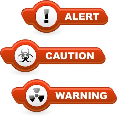 hazardous area sign: Botones de vector de advertencia.