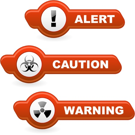Warning vector buttons. Stock Vector - 8890887