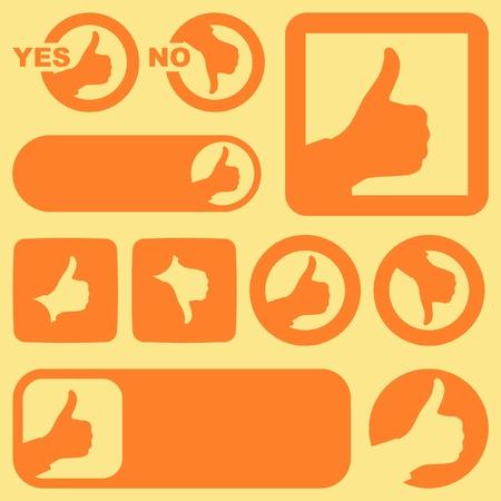 actitud positiva: Signos aprobados y rechazados.