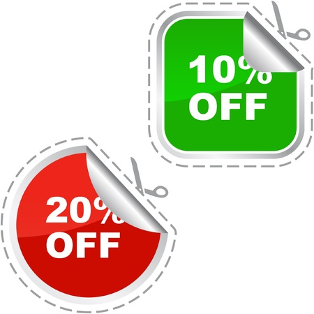 Discount label templates with different percentages Stock Vector - 9392524