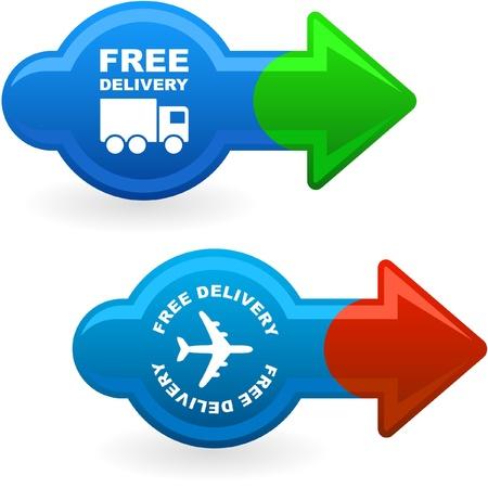 buen servicio: Elemento de entrega gratuita de venta     Vectores