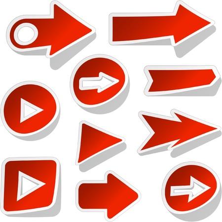triangle button: Conjunto de flechas. Ilustraci�n vectorial.    Vectores