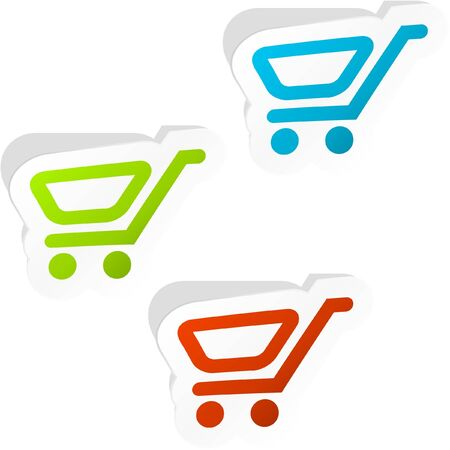 Shopping cart. Sticker set. Vector