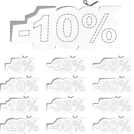 Discount label templates with different percentages Stock Vector - 9040047