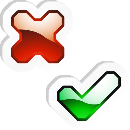 approbate: Yes and No icon. Vector beautiful icon set.