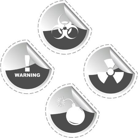 Warning sticker set. Vector template.    Vector