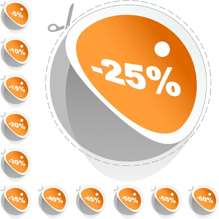 Discount label templates with different percentages Stock Vector - 9040030