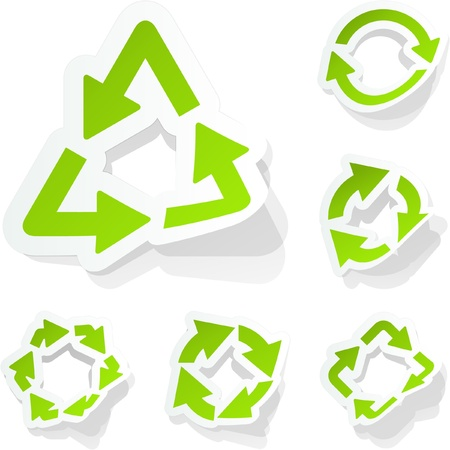 Recycle sticker set. Vector