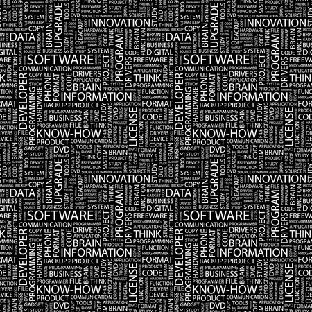 SOFTWARE. Patrón de vector transparente con nubes de palabra. Ilustración con términos de asociación diferente.