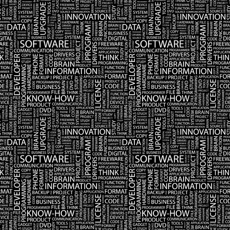 open source: SOFTWARE. Seamless vector pattern with word cloud. Illustration with different association terms.