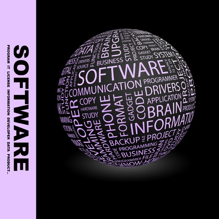 open source: SOFTWARE. Globe with different association terms. Wordcloud vector illustration.