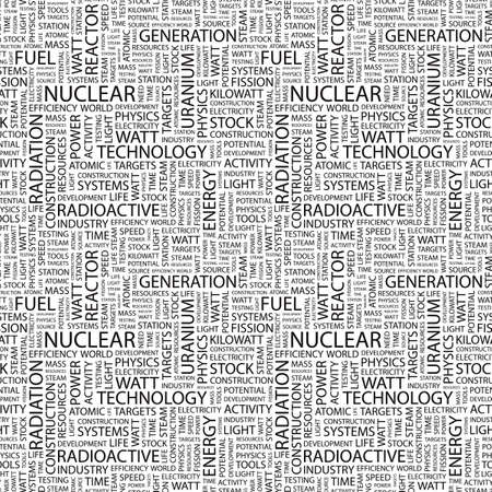 NUCLEAR. Seamless vector pattern with word cloud. Illustration with different association terms.   Vector