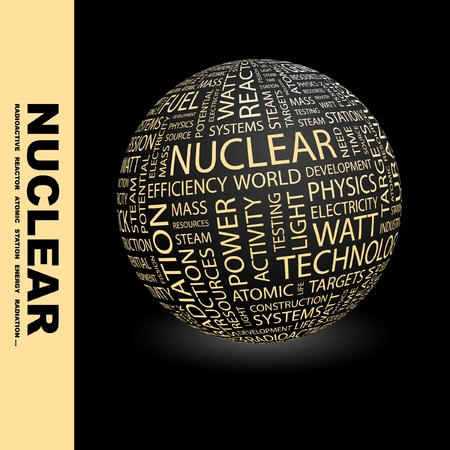 NUCLEAR. Globe with different association terms. Wordcloud vector illustration.   Illustration
