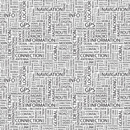 GPS. Seamless vector pattern with word cloud. Illustration with different association terms.   Vector