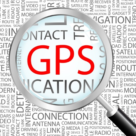 GPS. Magnifying glass over background with different association terms. Vector illustration.   Vector