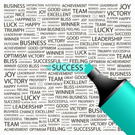 SUCCESS. Highlighter over background with different association terms. Vector illustration. Stock Vector - 9392838
