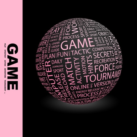 mix fighting: GAME. Globe with different association terms. Wordcloud vector illustration.