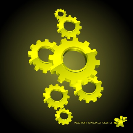 spinning factory: Vector gear background. Abstract illustration.