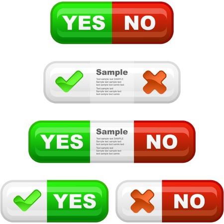 preferencia: Grupo de botones aprobados y rechazados. Vectores