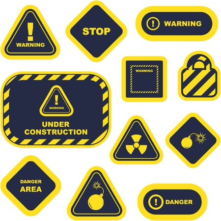 dangerous construction: Warning vector signs.