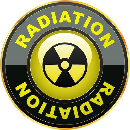Icona radioattivo. Illustrazione vettoriale.
