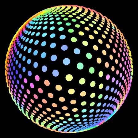 spot color: Multicolored globe illustration.