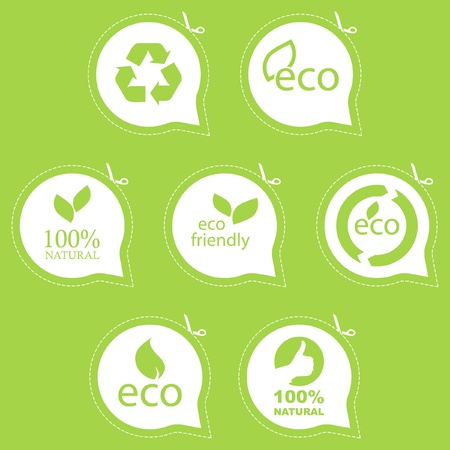eco friendly: Set of eco friendly, natural and organic signs. Illustration
