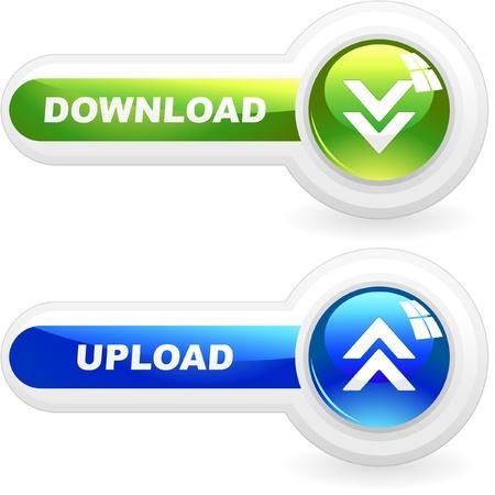 overdracht: De knoppen Download en uplod.