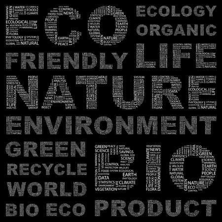 educazione ambientale: ECO. Collage di parola. Illustrazione vettoriale. Illustrazione con termini differenti associazione.   Vettoriali