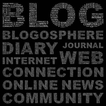 millones: BLOG. Collage de palabra sobre fondo negro. Ilustraci�n vectorial. Ilustraci�n con t�rminos de asociaci�n diferente.    Vectores