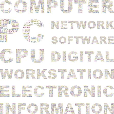 office automation: COMPUTER. Word collage on white background. Vector illustration. Illustration with different association terms.