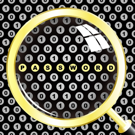 PASSWORD. Magnifying glass over background with binare signs. Vector illustration. Vector