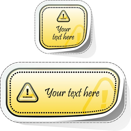 the precaution: Warning sticker.  template.    Illustration