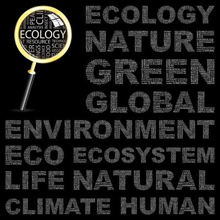 educazione ambientale: ECOLOGIA. Collage di parola su sfondo nero. Illustrazione vettoriale. Illustrazione con termini differenti associazione.