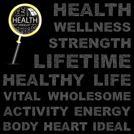 HEALTH. Word collage on black background. Vector illustration. Illustration with different association terms.    Vector