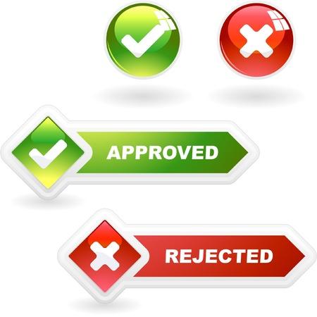 承認および却下されたボタンのセットです。