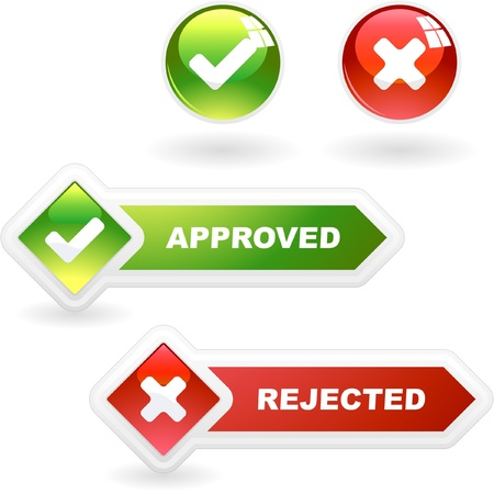 Goedgekeurd en geweigerde knop ingesteld. Vector Illustratie