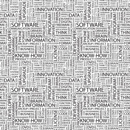 human source: SOFTWARE. Seamless vector background. Wordcloud illustration. Illustration with different association terms.