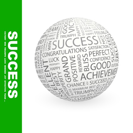 SUCCESS. Globe with different association terms. Wordcloud vector illustration.
