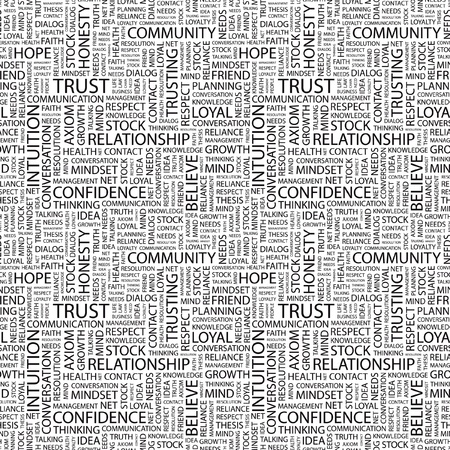 trusting: TRUST. Seamless vector pattern with word cloud. Illustration with different association terms.