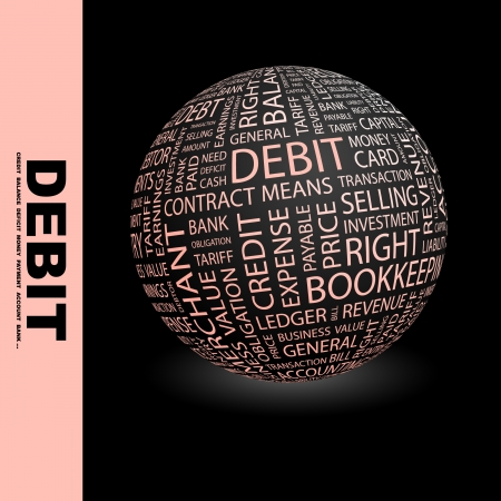 payable: DEBIT. Globe with different association terms. Wordcloud vector illustration.