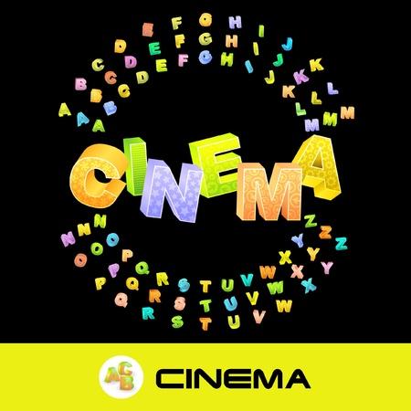 CINEMA. Colored 3d alphabet. Vector set. Illustration