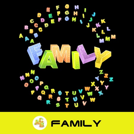 FAMILY. Colored 3d alphabet. Vector set. Vector