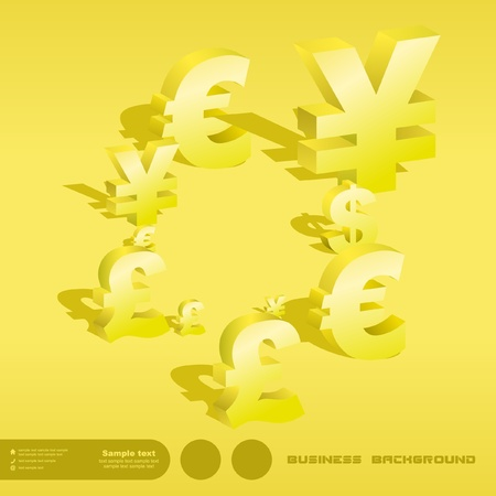 Abstract background with dollar, euro, yen and pound signs. Vector
