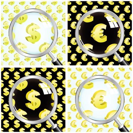 Vector dollar and euro. Vector