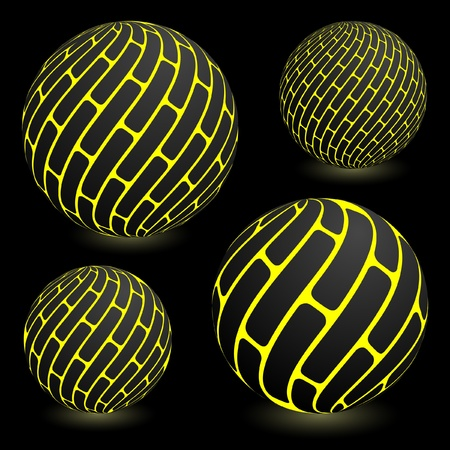 Abstract sphere. Vector set. Vector